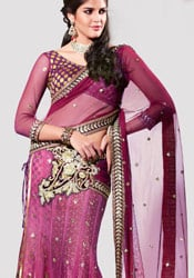 Stunning Magenta Lehenga Saree
