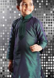 Teal Art Dupion Silk Kurta Pyjama