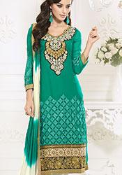 Trendy Green Georgette Churidar Suit