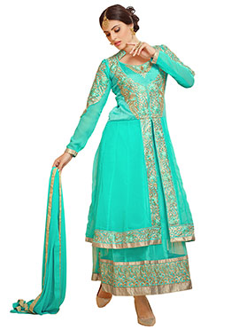 Turquoise Green Anarkali Suit