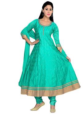 Turquoise Green Art Silk Anarakli Suit