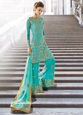 Turquoise Green Georgette Palazzo Suit