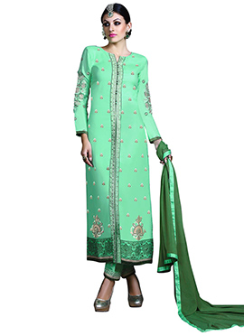 Turquoise Green Straight Pant Suit