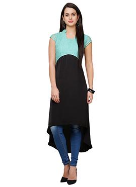 Turquoise N Black Crepe Asymmetric Hem Kurti