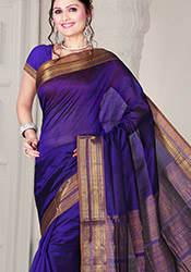 Violet Zari adorned Silk Cotton Saree