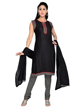 Viscose Black Churidar Suit