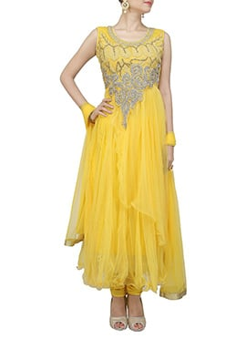 Yellow Beads Enhanced Anarkali Suit