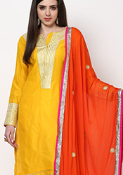Yellow Chanderi Plus Size Churidar Suit