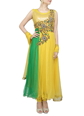 Yellow N Green Anarkali Suit