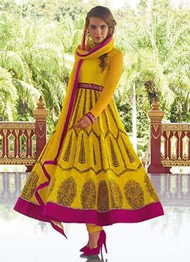 Yellow Printed Anarkali Suit