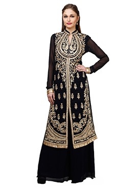 Abhilasha And Abhishek Navy Blue Palazzo Suit