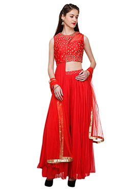 Abhilasha And Abhishek Red Sharara Suit