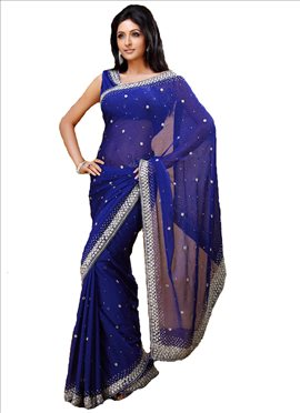 Admirable Look Crystals Enhanced Chiffon Saree