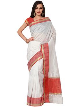 Admyrin White Pure Tussar Silk Saree