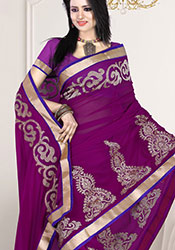 Adorning Purple Embroidered Chiffon Saree
