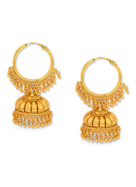 Alankruthi Golden Color Hoop Jhumkas