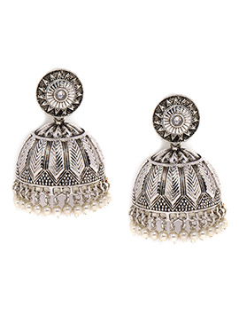 Alankruthi Silver Colored Foliage Design Jhumkas