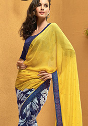 Alluring Blue N Yellow Half N Half Saree
