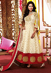 Off white brasso ankle length anarkali suit