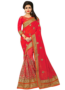 Amaranth Red Embroidered Half N Half Saree