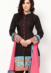 Amazing Black Chanderi Churidar Suit
