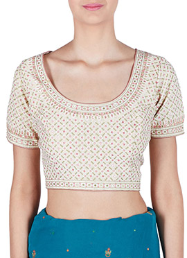 Amber Fabs Off White Pure Georgette Blouse