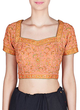 Amber Fabs Peach Pure Georgette Blouse