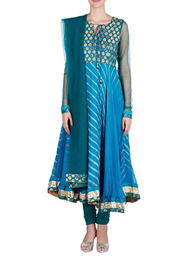 Amber Fabs Teal Blue Pure Georgette Anarkali