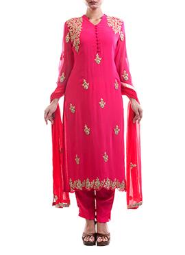 Anju Agarwal Dark Pink Straight Pant Suit