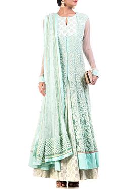 Anju Agarwal Light Moss Green Anarkali Suit