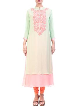 Anju Agarwal Pastel Green N Pink Long Kurti
