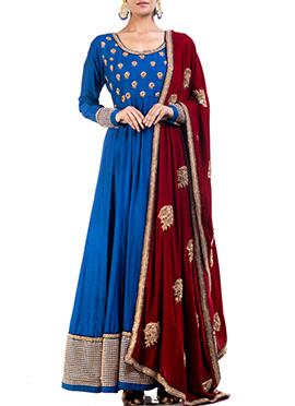 Anju Agarwal Yale Blue Ankle Length Anarkali