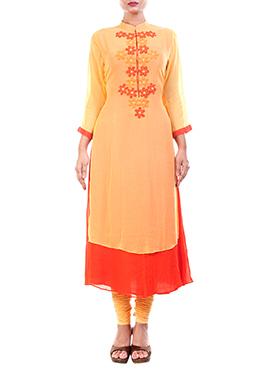 Anju Agarwal Yellow N Orange Long Kurti