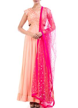 Anushree Agarwal Peach Anarkali Suit