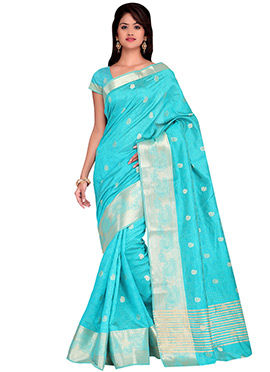 Aqua Blue Benarasi Silk Blouse
