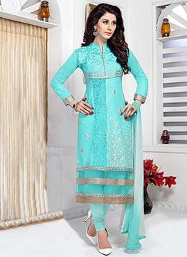 Aqua Blue Cambric Cotton Straight Suit