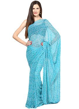 Aqua Blue Georgette Bandhini Printed Saree