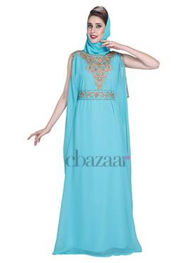 Aqua Blue Georgette Embroidered Fustan Dress