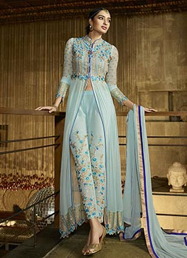 Aqua Blue Indowestern Straight Pant Suit