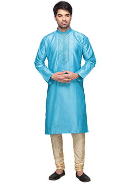 Aqua Blue Kurta Pyjama