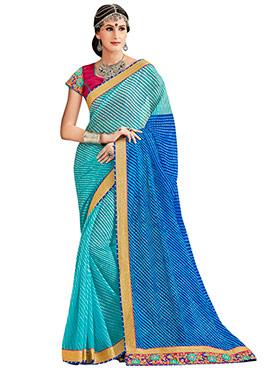 Aqua Blue N Blue Leheriya Pattern Saree