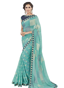 Aqua Green Brasso Patterned Saree