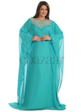 Aqua Green Georgette Fustan Dress