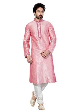 Art Dupion Baby Pink Kurta Pyjama
