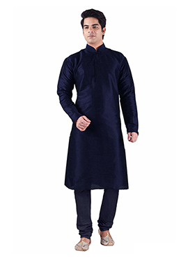 Art Dupion Silk Deep Yale Blue Kurta Pyjama