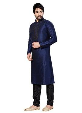 Art Dupion Silk Navy Blue Kurta Pyjama