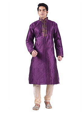 Art Dupion Silk Purple Kurta Pyjama