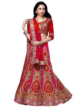 Art Dupion Silk Red A Line Lehenga Choli