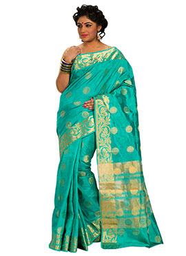 Art Silk Jade Green Zari Weave Patterned Saree