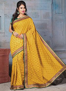 Art Silk Mustard Yellow Jacquard Designed Saree